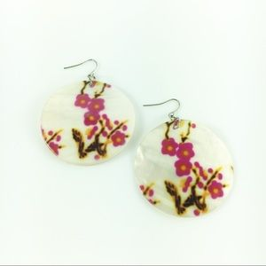Jewelry - Hand Painted Cherry Blossom Shell Drop Earrings